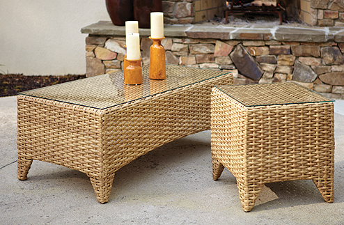 Manhattan Coffee Table and End Table in Cane
