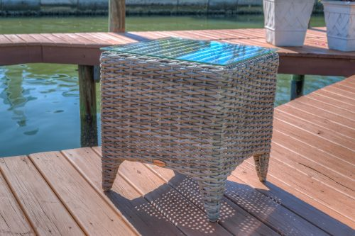 Shell weave end table